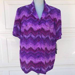 Silk Blouse Purple Short Sleeve Button Down 18 NWT